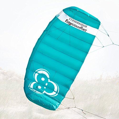 Skymonkey Windtrainer 2.3 Trainer-Kite/Lenkmatte 4-Leiner (inkl. Trainerbar) Ready 2 Fly- 230 cm [Petrol]