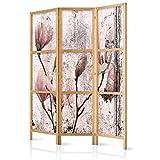 murando - Biombo Flores Magnolia 135x171 cm 3 Paneles Lienzo de Tejido no Tejido Tela sintética Separador Madera Design de Moda Hecho a Mano Deco Home Office Japón b-C-0389-z-b