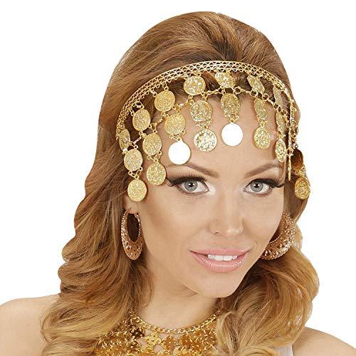NET TOYS Orientalischer Schmuck Bauchtänzerin mit Goldmünzen - Gold - Aufregender Damen-Kopfschmuck 1001 Nacht Haarschmuck Haremsdame - EIN Highlight für Kostümfest & Mottoparty