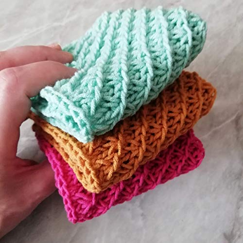 Set 3 Grandmothers Favorite Dishcloths Towels Hand Knitted Cotton Coasters Drink Absorbent Hot Pads Mats Home Kitchen Square Reusable Cleaning Supplies Craft Tools Zero Waste Handmade