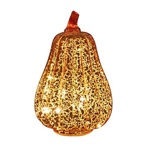 simpdecor Halloween Kürbis Licht LED Beleuchtete mit Timer Kürbisse Glas Herbst und Home Decor, Gold, 8,7 Zoll