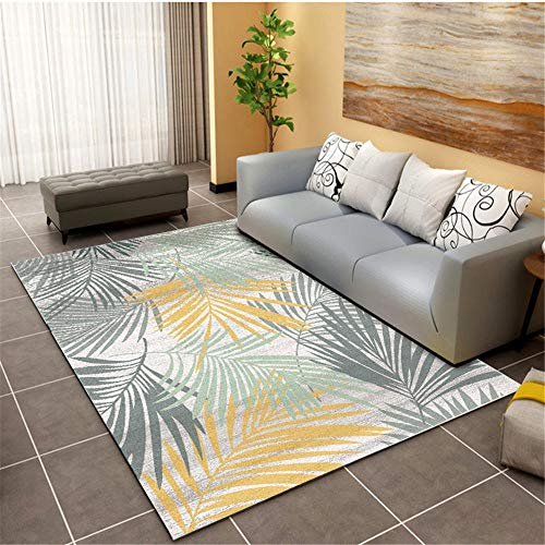 alfombras grandes baratas Alfombra amarilla, alfombra con diseño de patrón de hojas de plantas, alfombra antibacteriana y resistente al desgaste lavable y fácil de limpiar alfombra pequeña -amarillo_L