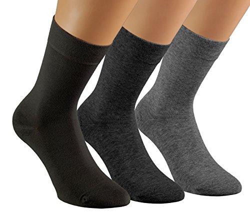 Vitasox 13358 Damen Socken feine Wollsocken Damensocken Wolle schwarz uni einfarbig ohne Naht ohne Gummi 6er Pack 35/38