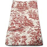 KXT French Country Toile on White Hand Towels for Bathroom,27.5'' X 12'' Soft Microfiber Towel Small Bath Towels Kitchen Dish Towel