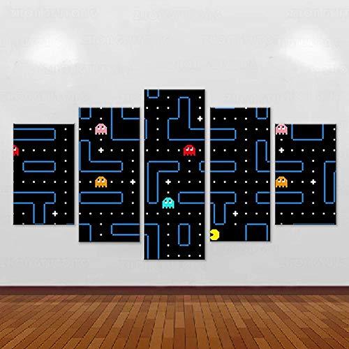 YOUQIANREN Cuadro en Lienzo HD Impresión de 5 Piezas Clásico Juego de Arcade Pac-Man de Pinturas en Lienzo Imagen Gráfica Cartel Decorativo Mural Art Room Decoración Salon Enmarcado 150x80cm