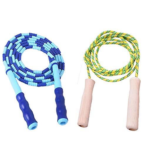 縄跳び ビーズロープ 子供用 初心者向けジャンプロープ ねじれ防止なわとび 大人用 フィットネストレーニング 有酸素運動 長さ調整可(2セット)
