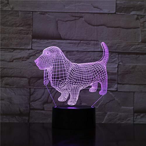 ZXBB Animal Dachshund Perro 3D Lámpara Ilusión Luz de Noche LED Bombilla Multicolor Ambiente de Navidad Señora Regalos Para Niños Niño Juguete