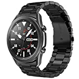 V-MORO Metal Strap Compatible with Galaxy Watch 3 Bands 45mm Black Men, No Gaps Solid Stainless Steel Bracelet Business Repalcement for Samsung Galaxy Watch 3 45mm Smartwatch