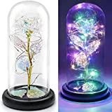 FLORECORD Beauty and The Beast Rose Gift Enchanted Colorful Led Galaxy Crystal Rose Flower Light, Last Forever in Glass Dome, Unique Gifts for Her, Women, Mom, Mother's Day, Girl's Birthday