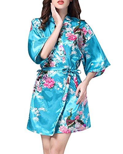 Mujer Pijama Lencería Kimono Corto Satén Estampado Floral Encaje Gown Lago Azul XL