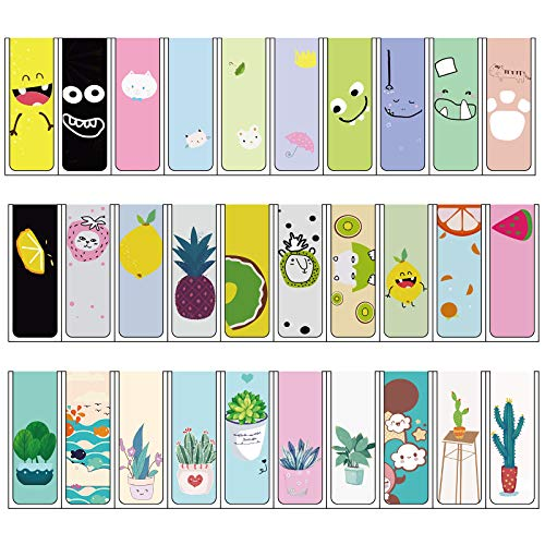 30 Pieces Magnetic Bookmarks Magnet Page Markers Colorful Assorted Book Markers Cartoon Cute Bookmarks for Kids Cute Paper Clips Book in Animals/Plants/Fruits Style, 30 Designs(2.36 x 0.8 Inch)