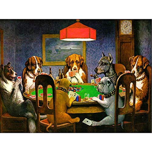 DIY Paint by Numbers, Canvas Oil Painting Kit for Kids & Adults, Drawing Paintwork with Paintbrushes, Acrylic Pigment-Dog Playing Poker 16X20 Inches Aabcp