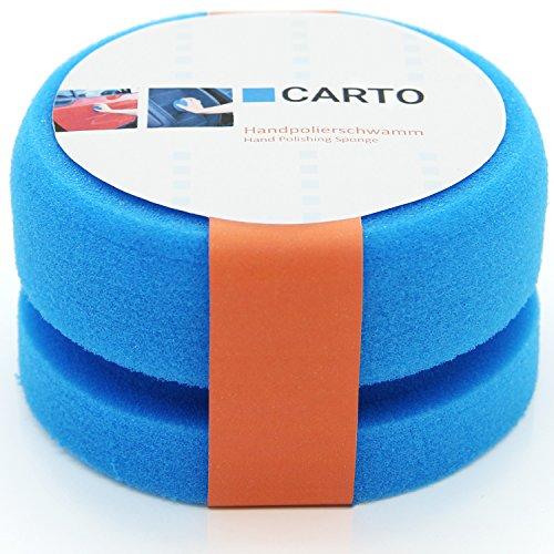 CARTO Profi Handpolierschwamm mit Griffleiste, weich, blau – Auto-Polierschwamm/Auto-Schwamm/Polier-Pad