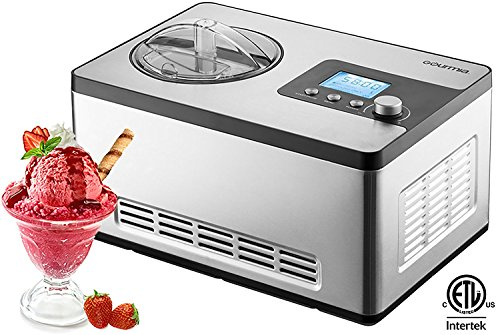 Gourmia GSI400 Automatic Ice Cream Maker Stainless Steel 2.2 Qt Sleek Serve - Gelato, Sorbet and Frozen Yogurt Machine - Built-in Compressor & LCD Digital Display- Includes Free Recipe Book, 110/120V