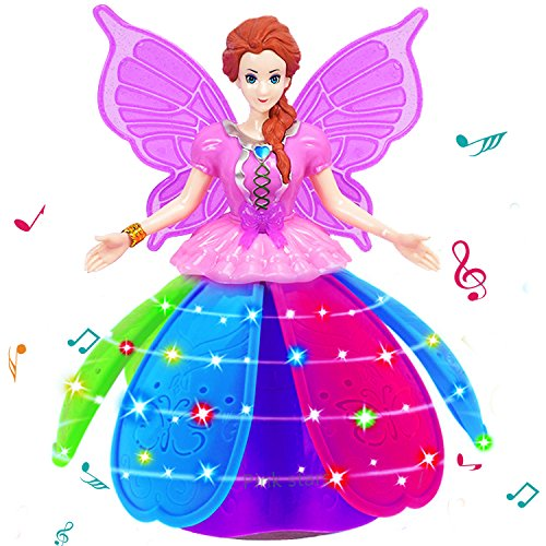 Dancing Robot for Girls Rotate Walk Electric Princess Dolls LED Projection Butterfly Wings Fairy Music Box Girl Festival Birthday Gift