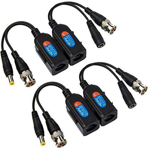 Greluma 4 Piezas Balun HD Cat5 RJ45 a BNC Video Baluns Transceptor Pasivo con Conector de Alimentación para Cámara 1080P 3MP 4MP 5MP 8MP HD-CVI/TVI/AHD/CVBS / 960H