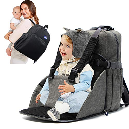 MIEMIE Multifunctional Baby Diaper Bag Backpack with Portable Chair Dining Chair Home Outdoor Travelling Large Capacity Backpack for Moms and Dads Grey