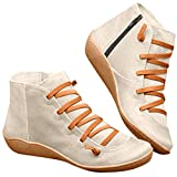 Ankle Booties for Women Low Heel,Arch Support Martin Boots Casual Flat Lace Up Short Ankle Boots Everyday Boots for Ladies