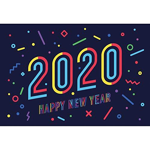 YongFoto 2,7x1,8m Fotografie Hintergrund 2020 Frohes Neues Jahr Farbe Cartoon-Schriftart Malvorlage Hintergrund Feiern Sie neues Jahr 2020 Partei Porträt Winter Studio Foto