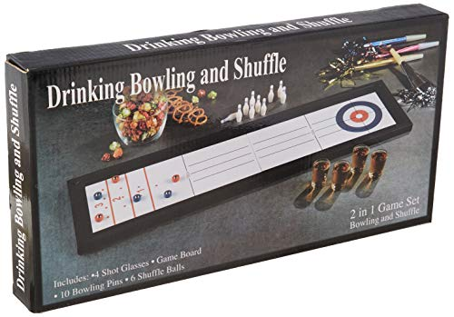 Wanna Party 2-in-1 Bowling/Shuffleboard Drinking Game Set (White)