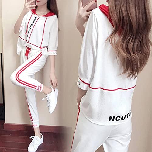Chaqueta de manga larga para mujer, suéter con capucha de manga de cinco puntos, pantalones de nueve puntos para mujer, traje deportivo de dos piezas, ropa deportiva casual para todos los partidos