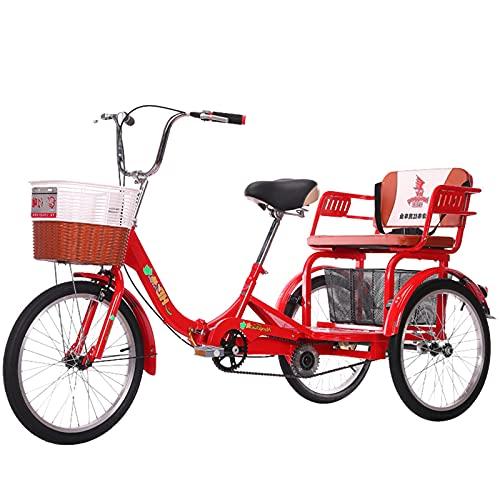 zyy Triciclo para Adultos con Cestas Rueda de 20 Pulgadas de Compras Carga Flexible para Compras de Deportes Al Aire Libre Triciclo Pedal Bicicleta Rojo