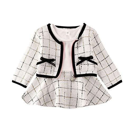 WangsCanis - Conjunto de 2 piezas para bebé niña al otoño para niña de 6 meses a 5 años, abrigo de cuadros + vestido de princesas, blanco, 3-4 Años