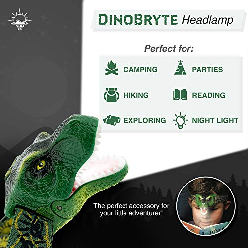 The Original DinoBryte LED Headlamp - T-Rex Dinosaur Headlamp for Kids | Dinosaur Toy Head Lamp for Boys, Girls, or Adults | Perfe   ct for Camping, Hiking, Reading, and Parties