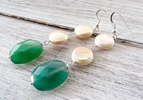 Pendientes de plata 925 perlas rosa naturales y agata verde esmeralda, pendientes colgantes largos, joyas artesanales, estilo boho, regalo para mujeres