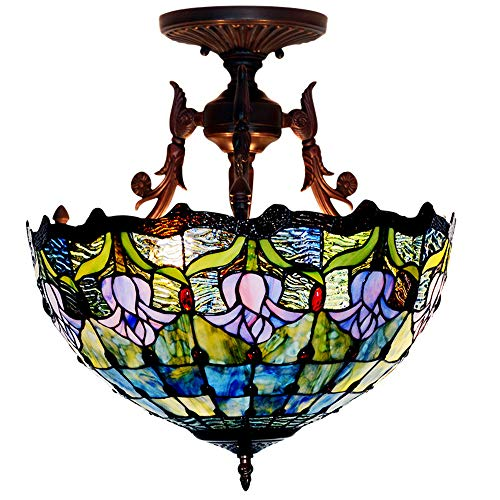 Plafond Hanglamp Tiffany Style Tulp Gebrandschilderd Glas Lampenkap LED Anti-plafond, Woonkamer Slaapkamer Keuken Ronde Kroonluchter 16 Inch Diameter 110-240V