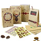Adventskalender zum Befüllen-24 adventskalender tüten+Adventskalender Zahlen+24 Mini Holzklammern...