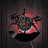 xcvbxcvb Reloj de Pared de Vinilo Ecuestre Vintage Reloj clásico Reloj de Pared 3D Relojes de Cuarzo creativos artísticos Decoración del hogar