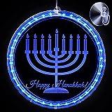 Luces Decorativas de Hanukkah Luces LED Azules de Janucá Luces Funcionan con Pilas para Judíos Judaísmo Sinagoga Pascua Shabat Adorno de Navidad Hogar Interior al Aire Libre (Hexagrama) (Menorá)