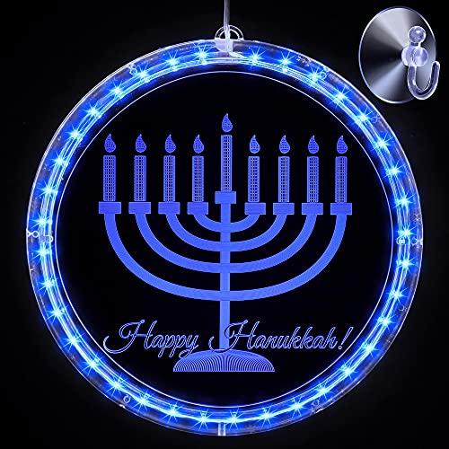 Hanukkah Decoration Lights Blue Chanukah LED Lights Battery Operated Lights for Jews Judaism Synagogue Passover Shabbat Christmas Home Ornament Indoor Outdoor (Menorah)