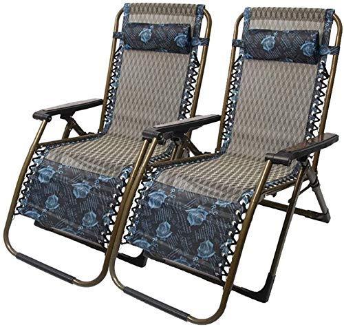 Juego de 2 sillas de jardín reclinables para personas pesadas, sillas de playa , silla de camping, silla portátil, silla plegable, sillón reclinable ajustable, soporte 200 kg (color: modelo azul)