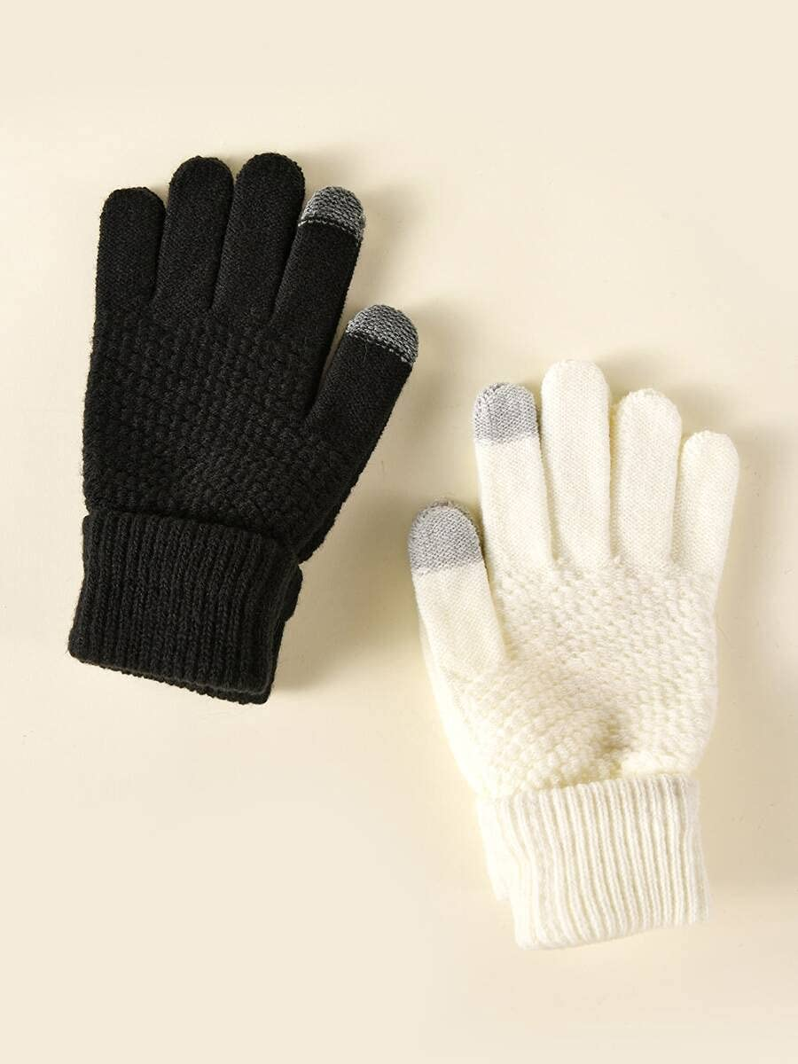 ZZTT Autumn and Winter Gloves 2pairs Simple Knitted Gloves Warm and Comfortable Gloves for Men or Momen (Color : Multicolor, Size : One-Size)