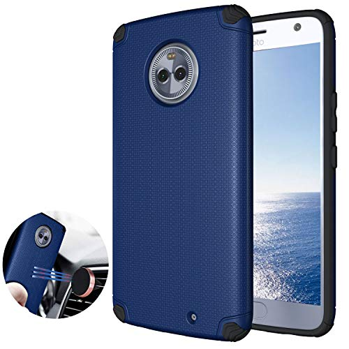 Ownest Compatible Moto X4 Case Cover,Anti-Fingerprint Non Slip Built-in Magnetic Metal Plate Case,Resistant Thin Lightweight Slim Protective Cases for Motorola Moto X4-(Navy Blue)