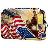 Estuche cosméticos Viaje portátil Organizador Bolsas Maquillaje Bandera de Gloria Americana con águila Cremallera Bolsillo Grande Almacenamiento