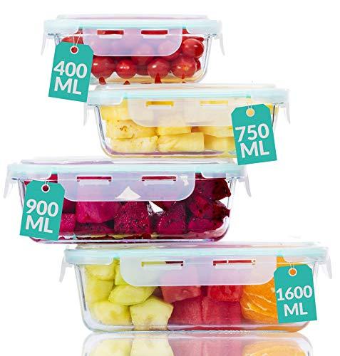 Praknu Frischhaltedosen mit Deckel 4er Set aus Glas - Luftdicht - Spülmaschinenfest - BPA frei - Borosilikatglas