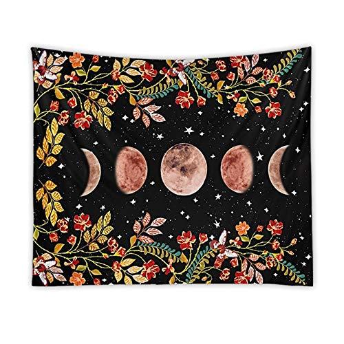 Psicodélico luna tapiz estrellado flor colgante de pared arte impresión decoración de la pared tapiz estrellado tela de fondo A7 150x200cm
