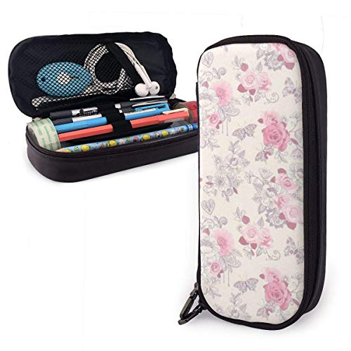HHELI Beautiful Vintage Pink Flower Pencil Case,Large Capacity Pencil Bag with Durable Zipper Students Stationery Pen Bag for Pens and Other School Supplies