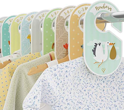 COZY HEDGEHOG Baby Wardrobe Dividers - 18 x closet organiser hangers - Arrange clothes by clothing type size or age - Perfect baby shower nursery gift set - Unisex Woodland/Safari/Farm animal theme