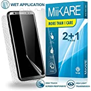 Galaxy S8 Plus Screen Protector Film Liquid HD Clear Screen Protector Wet, MiiKARE S8 Plus TPU Plastic Screen protector Case Friendly Invisible Shield S8+ Soft Skin 2 Pack Front Back With Applicator
