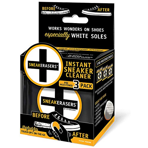 SneakERASERS Instant Sole and Sneaker Cleaner, Premium Pre-Moistened Dual-Sided Sponge for Cleaning & Whitening Shoe Soles (3 Pack)