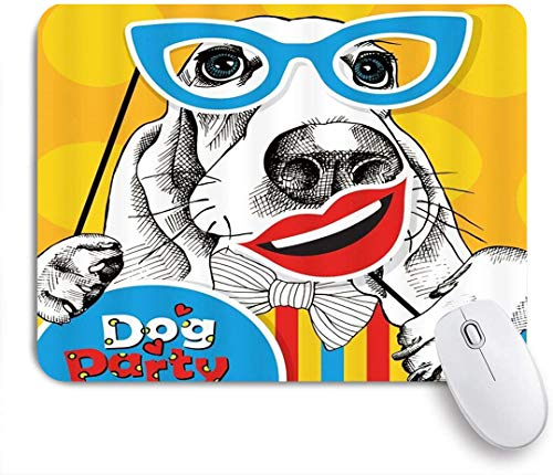 Benutzerdefiniertes Büro Mauspad,Dog Party Nette Mops Fliege Cartoon Brille Rote Lippen Dekoration Hipster,Anti-Slip Rubber Base Gaming Mouse Pad Mat