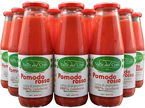 12 Bottiglie Salsa Di Pomodoro Calabrese Naturale Italiano Valle Del Crati Passata Di Pomodori Senza...