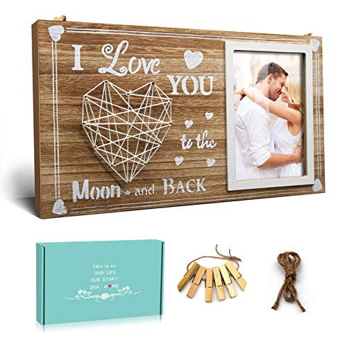 ACEMERALD 4x6 Valentine's Day Wood Photo Frame-Table Display or Wall Hanging Anniversary Birthday Gift for Girlfriend Boyfriend - I Love You to the Moon and Back, 13.77x7.87 Inch