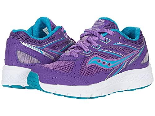 Saucony Cohesion 14 Lace to Toe Running Shoe, Purple/Turq, 3 US Unisex Big Kid