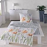 Traumschlaf Seersucker Bettwäsche Set • Aus 100% Baumwolle In Feinem Floralen Aquarell Blumen Muster • 155x220 cm + 80x80 cm
