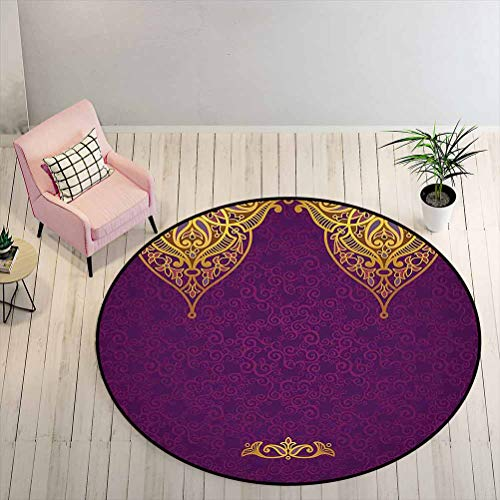 Outdoor Patio Rug 2 ft Round - Purple Easy to Clean Rug Oriental Royal Palace Patterns with Bohemian Style Art Traditional Wedding, Purple Gold
